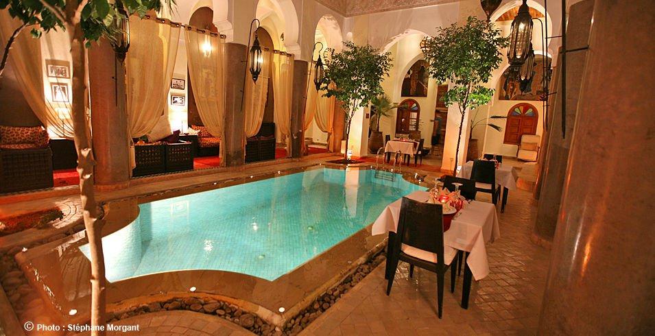 Chambres d 39 h tes marrakech en riad avec piscine hammam for Riad marrakech piscine chauffee