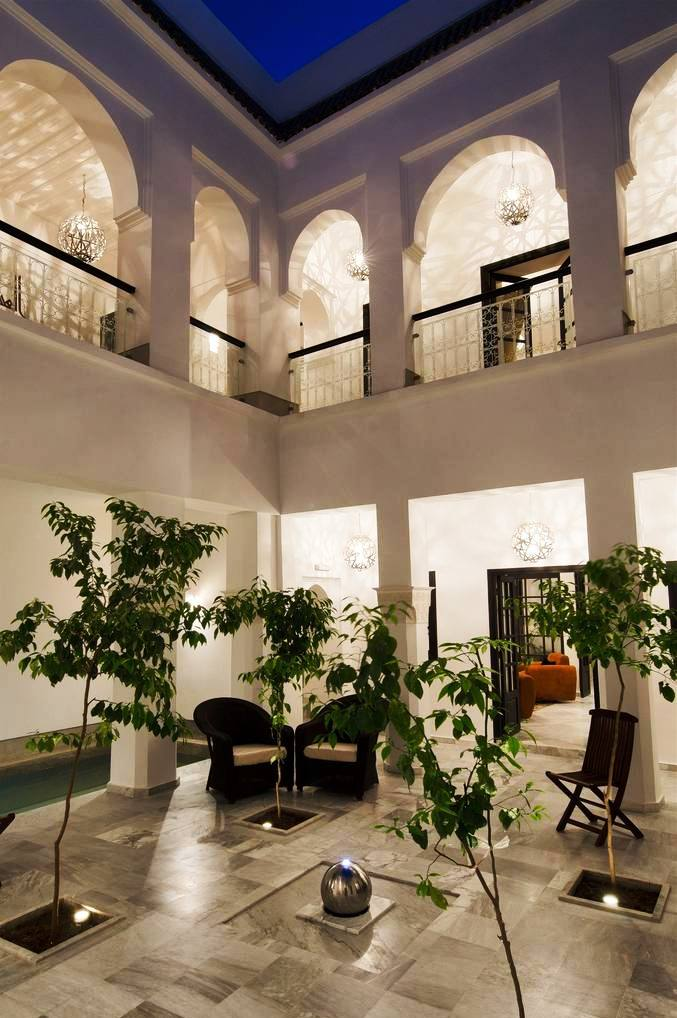 Vue patio riad de charme à Marrakech