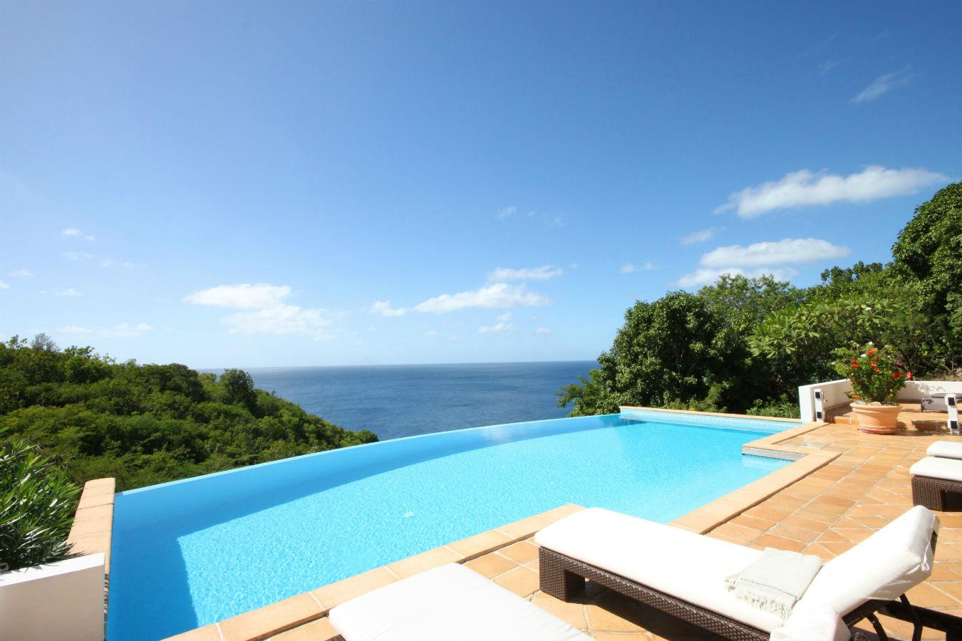 Location saint barthelemy villa de charme vue mer avec - Location de piscine privee ...